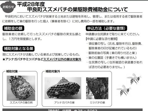 滋賀県の蜂の巣駆除、スズメバチ駆除費用助成補助金について